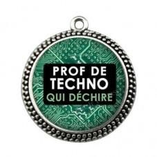"""Pendentif Cabochon en Résine """"Prof de Techno qui Déchire"""" 25mm pour la Création de Bijoux Fantaisie - DIY"""
