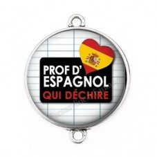 """Connecteur Cabochon en Résine """"Prof d'Espagnol qui Déchire"""" 25mm pour la Création de Bijoux Fantaisie - DIY"""