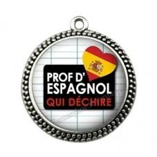"""Pendentif Cabochon en Résine """"Prof d'Espagnol qui Déchire"""" 25mm pour la Création de Bijoux Fantaisie - DIY"""