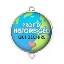 """Connecteur Cabochon en Résine """"Prof d'Histoire-Géo qui Déchire"""" 25mm pour la Création de Bijoux Fantaisie - DIY"""