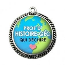"""Pendentif Cabochon en Résine """"Prof d'Histoire-Géo qui Déchire"""" 25mm pour la Création de Bijoux Fantaisie - DIY"""