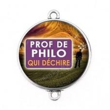 """Connecteur Cabochon en Résine """"Prof de Philo qui Déchire"""" 25mm pour la Création de Bijoux Fantaisie - DIY"""