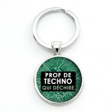 """Porte-clé """"Prof de Techno qui déchire"""" Cadeau Original Humour Anniversaire Noël pour la Création de Bijoux Fantaisie - DIY"""