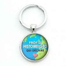 """Porte-clé """"Prof d'hist-Géo qui déchire"""" Cadeau Original Humour Anniversaire Noël pour la Création de Bijoux Fantaisie - DIY"""