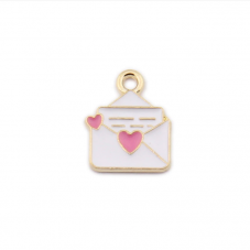 2 Breloques Enveloppe Lettre Courrier Coeur en Émail Blanc et Rose Métal Doré 15x13mm pour la Création de Bijoux Fantaisie - DIY