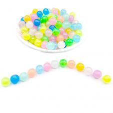 50 Perles Rondes Colorées Phosphorescentes 8mm pour la Création de Bijoux Fantaisie - DIY