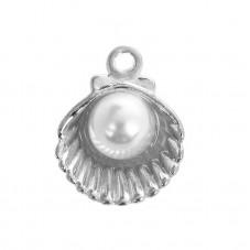 4 Breloques Coquillage Argenté avec Perle 15mm pour la Création de Bijoux Fantaisie - DIY