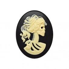 Camée Cabochon Lady Squelette Tête de Mort Gothique Haute Qualité AAAA+ 30x40mm  pour la Création de Bijoux Fantaisie - DIY