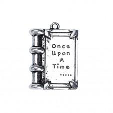 """4 Breloques Livre """"Once Upon a Time"""" Argenté 17x12mm pour la Création de Bijoux Fantaisie - DIY"""