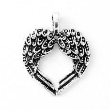 2 Breloques Coeur Aile Ange Gothique 30x24mm pour la Création de Bijoux Fantaisie - DIY