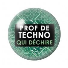 """Cabochon en Verre Illustré """"Prof de Techno qui Déchire"""" 12 à 25mm pour la Création de Bijoux Fantaisie - DIY"""