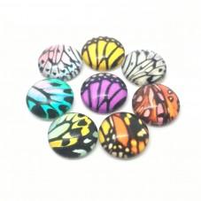 5 Cabochons en Verre Illustrés Aile de Papillon 12mm pour la Création de Bijoux Fantaisie - DIY