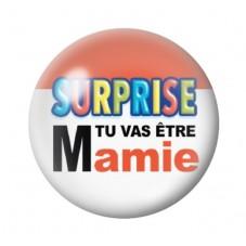 """Cabochon en Verre Illustré """"Surprise tu vas être Mamie"""" 12 à 25mm pour la Création de Bijoux Fantaisie - DIY"""