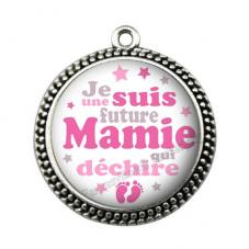 """Pendentif Cabochon en Résine """"Super Future Mamie"""" 25mm pour la Création de Bijoux Fantaisie - DIY"""