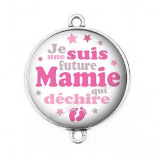 """Connecteur Cabochon en Résine """"Super Future Mamie"""" 25mm pour la Création de Bijoux Fantaisie - DIY"""