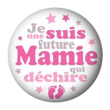 """Cabochon en Résine à Coller """"Super Future Mamie"""" 25mm pour la Création de Bijoux Fantaisie - DIY"""