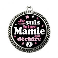 """Pendentif Cabochon en Résine """"Je suis une Future Mamie qui Déchire"""" 25mm pour la Création de Bijoux Fantaisie - DIY"""