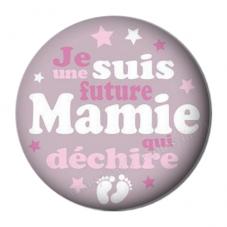 """Cabochon en Résine à Coller """"Je suis une Future Mamie qui Déchire"""" 25mm pour la Création de Bijoux Fantaisie - DIY"""