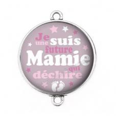 """Connecteur Cabochon en Résine """"Je suis une Future Mamie qui Déchire"""" 25mm pour la Création de Bijoux Fantaisie - DIY"""