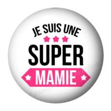 """Cabochon en Résine à Coller """"Je suis une Super Mamie"""" 25mm pour la Création de Bijoux Fantaisie - DIY"""