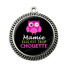 """Pendentif Cabochon en Résine """"Mamie Super Chouette"""" 25mm pour la Création de Bijoux Fantaisie - DIY"""