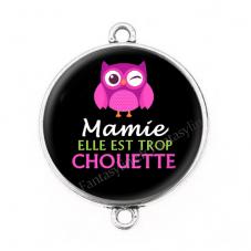 """Connecteur Cabochon en Résine """"Mamie Super Chouette"""" 25mm pour la Création de Bijoux Fantaisie - DIY"""