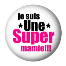 """Pendentif Cabochon en Résine """"Je suis une Super Mamie"""" 25mm pour la Création de Bijoux Fantaisie - DIY"""