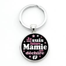 """Porte-clé """"Je suis une Super Future Mamie qui Déchire"""" Cadeau pour Annonce de Grossesse Naissance"""