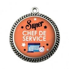 """Pendentif Cabochon en Résine """"Super Chef de Service"""" 25mm pour la Création de Bijoux Fantaisie - DIY"""