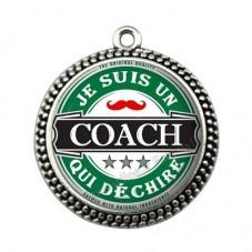"""Pendentif Cabochon en Résine """"Je suis un Coach qui Déchire"""" 25mm pour la Création de Bijoux Fantaisie - DIY"""
