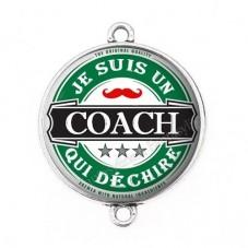 """Connecteur Cabochon en Résine """"Je suis un Coach qui Déchire"""" 25mm pour la Création de Bijoux Fantaisie - DIY"""