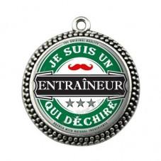 """Pendentif Cabochon en Résine """"Je suis un Entraîneur qui Déchire"""" 25mm pour la Création de Bijoux Fantaisie - DIY"""