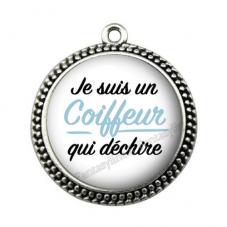 """Pendentif Cabochon en Résine """"Je suis un Coiffeur qui Déchire"""" 25mm pour la Création de Bijoux Fantaisie - DIY"""