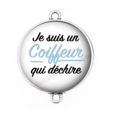 """Connecteur Cabochon en Résine """"Je suis un Coiffeur qui Déchire"""" 25mm pour la Création de Bijoux Fantaisie - DIY"""