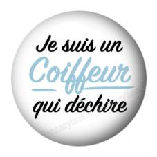 """Cabochon en Résine à Coller """"Je suis un Coiffeur qui Déchire"""" 25mm pour la Création de Bijoux Fantaisie - DIY"""