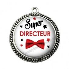 """Pendentif Cabochon en Résine """"Super Directeur"""" 25mm pour la Création de Bijoux Fantaisie - DIY"""