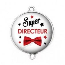 """Connecteur Cabochon en Résine """"Super Directeur"""" 25mm pour la Création de Bijoux Fantaisie - DIY"""