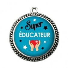 """Pendentif Cabochon en Résine """"Super Educateur"""" 25mm pour la Création de Bijoux Fantaisie - DIY"""