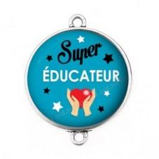 """Connecteur Cabochon en Résine """"Super Educateur"""" 25mm pour la Création de Bijoux Fantaisie - DIY"""