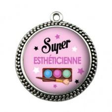 """Pendentif Cabochon en Résine """"Super Esthéticienne"""" 25mm pour la Création de Bijoux Fantaisie - DIY"""