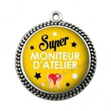 """Pendentif Cabochon en Résine """"Super Moniteur d'Atelier"""" 25mm pour la Création de Bijoux Fantaisie - DIY"""