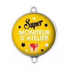 """Connecteur Cabochon en Résine """"Super Moniteur d'Atelier"""" 25mm pour la Création de Bijoux Fantaisie - DIY"""