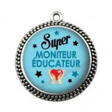"""Pendentif Cabochon en Résine """"Super Moniteur-Educateur"""" 25mm pour la Création de Bijoux Fantaisie - DIY"""