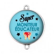 """Connecteur Cabochon en Résine """"Super Moniteur-Educateur"""" 25mm pour la Création de Bijoux Fantaisie - DIY"""