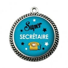 """Pendentif Cabochon en Résine """"Super Secrétaire"""" 25mm pour la Création de Bijoux Fantaisie - DIY"""