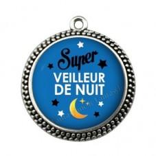 """Pendentif Cabochon en Résine """"Super Veilleur de Nuit"""" 25mm pour la Création de Bijoux Fantaisie - DIY"""