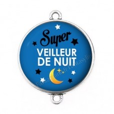 """Connecteur Cabochon en Résine """"Super Veilleur de Nuit"""" 25mm pour la Création de Bijoux Fantaisie - DIY"""