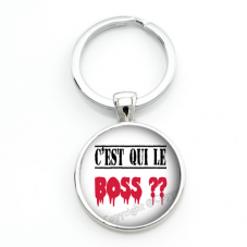"""Porte-clé """"C'est qui le Boss ?"""" Cadeau Original Humour Anniversaire Noël pour la Création de Bijoux Fantaisie - DIY"""