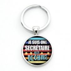 """Porte-clé """"Je suis une Secrétaire qui déchire"""" Cadeau Original Humour Anniversaire Noël pour la Création de Bijoux Fantaisie - D"""