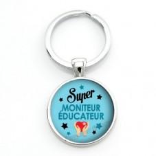 """Porte-clé """"Super Moniteur-Educateur"""" Cadeau Original Humour Anniversaire Noël pour la Création de Bijoux Fantaisie - DIY"""